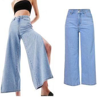 4a1fd0c4a8 Loose Side Split Boyfriend cintura pantalones anchos de pierna mujer