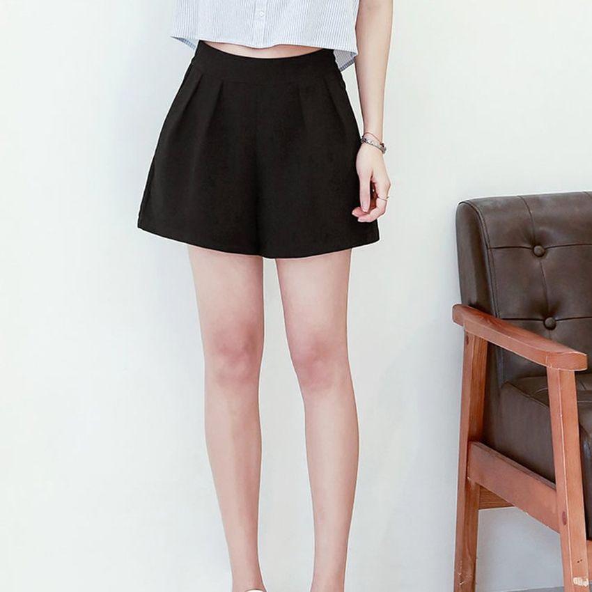 Casual fina gasa de las mujeres del estilo de los cortocircuitos Plug alta cintura del tamaño cortocircuitos rectos