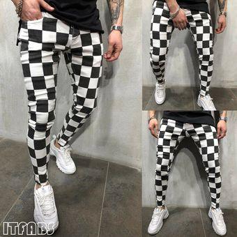 Slim De Los Hombres Pantalones Mallas Fitness Moda Comodo Rayas Cuadros Blanco Y Negro Pantalones Pitillo Casual Hombres Ropa Wan White Linio Peru Ge582fa0kw53vlpe