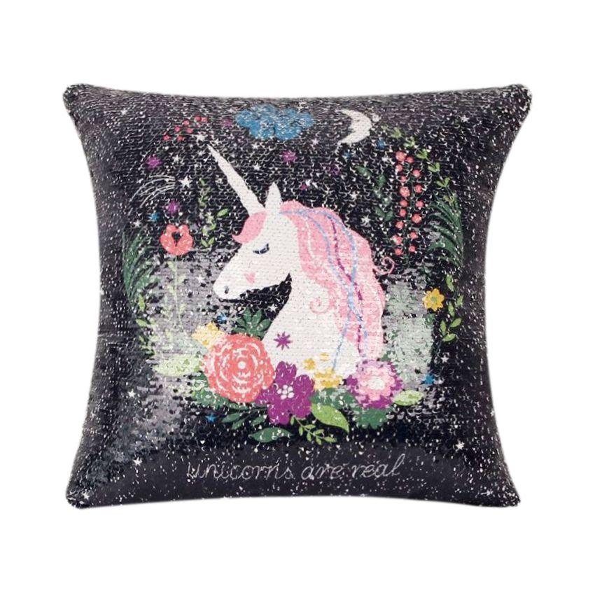 Sequin unicornio cojin decorativo cubre almohada cubierta reversible tamaño: 40cm x 40cm SU015HL0NLV51LMX kVrjf98y kVrjf98y LgCIflGQ