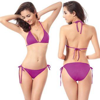 91f24530b8 EH Ropa Interior Sexy Womens Beach Swimwear Bikini Conjunto Sujetador  Triangulo-Rosa Roja