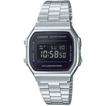 7c408f9afd37 Reloj Casio Retro Vintage A168 Plata Espejo Negro- 100% Original Cfmx
