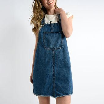 Vestido Mezclilla Tipo Overol Sybilla Para Mujer Azul