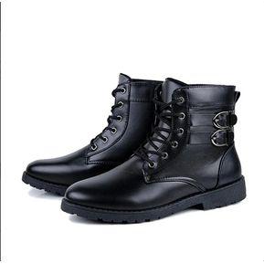 fbc210524eff3 Hombres encaje hasta el tobillo botas zapatos de moda para hombres - Black