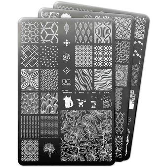 Uberchic Nail Art Colección 21 De Placas Para Estampar Las Uñas 3 Piezas