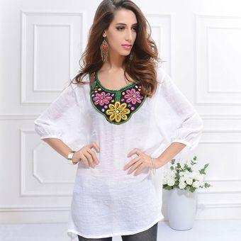 d616990486c Verano Top Mujeres Tallas Grandes Nacional Bordado Camiseta Mujer Camisas