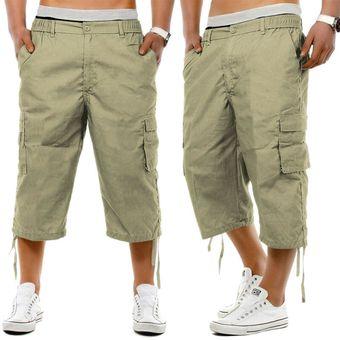 Pantalones Cortos De Tres Cuartos De Combate Cargo Cintura Elastica Casual De Longitud Larga Para Hombre 3 4 Khaki Linio Peru Ge582fa1h3t15lpe