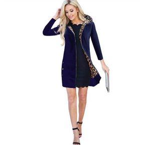 Chaqueta de algodón con capucha larga con capucha para mujer azul zafiro 4f9987df6771