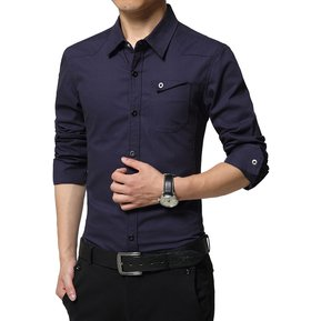 Camisas Hombre De Manga Larga De Negocios De Estilo De Ejército -Azul Oscuro a185fd05287c2