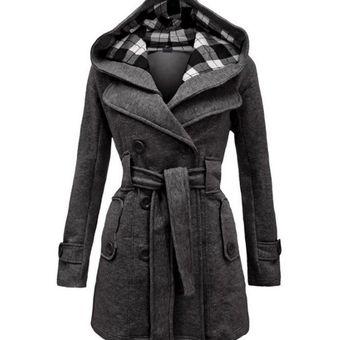como comprar elige auténtico mejores telas Mujer Chaqueta De Lana Saco Abrigo Con Capucha Fashion-cool-Gris Oscuro