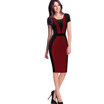 66fc020b42 Vestido De Oficina Para Las Señoras Mujeres Elegante Vintage Contraste  Colorblock Delgado Cinturón Patchwork Casual Desgaste