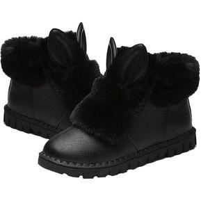 BX Tacón Pequeño Engrosamiento Mantenga Caliente Negro Botas De Nieve 0ceb389f2b50
