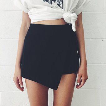 Pantalones Cortos  Falda Pantalón Falso Dos Piezas Shorts Irregulares Para  Mujer – Negro 1d95fefc0863