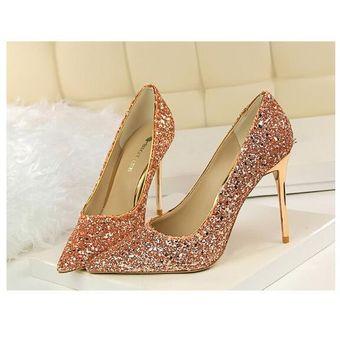 llega descuento especial de gran descuento venta Mujer Taco Zapatos de tacon alto estilo elegante y sexual brillante color  Champagne