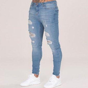 8b7b06ec6 Pantalones De Mezclilla Con Agujeros Para Caballero Jeans Hombre-azul
