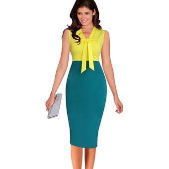 41c24a8d9 Agotado elegante ilusión óptica Patchwork contraste Slim Casual trabajo  Oficina negocio lápiz vestido oficina vestidos lápiz vestidos