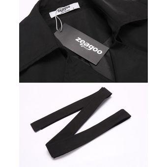 bf4ab0c2ec2 Zeagoo Abrigo De Lana Chaqueta Invierno Sólido Loose Con Cinturón Modern  Casa Para Mujer-negro