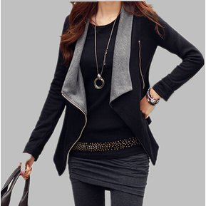 Mujer Abrigo Chaqueta Corta Irregular Fashion-cool-Negro Con Gris 7aaa63b09a48