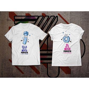 e03588530f9b6 Ztamp Pack Camisetas Estampadas Parejas Novio   Novia Perfecto - Blanca