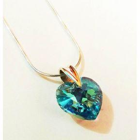 a2e4863fcf30 Collar Mujer Plata Peruana C  Dije Cristal Swarovski Celeste Sky Blue -  Plateado