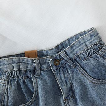 Novedad Pantalones Cortos De Tela Vaquera De Cintura Alta Para Mujer Pantalones Cortos Holgados Informales A