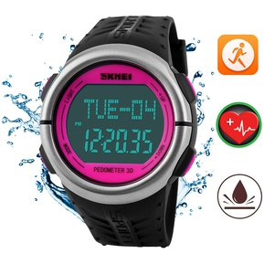 Mujer Reloj Ritmo Cardiaco SKMEI Impermeable Podómetro Reloj Dama Relojes  Deportivo (Rosa) dfe91a6a694b