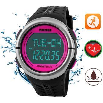 e21c0ef4a13e Mujer Reloj Ritmo Cardiaco SKMEI Impermeable Podómetro Reloj Dama Relojes  (Rosa)