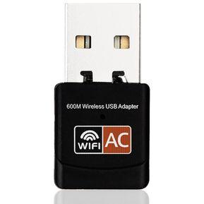 cb5f438483d ER 600Mbps Tarjeta De Red Inalámbrica De Banda Dual Equipo Mini Adaptador  WiFi USB -Negro