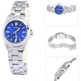 la mejor actitud d3952 faced Reloj Casio Analógico LTP-1215A-2A Plateado Fondo Azul Para Mujer