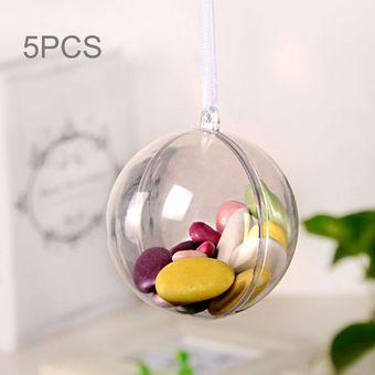 Compra 5 Pcs Transparente Bola De Navidad Esfera De Plastico Hueco - Bolas-de-navidad-transparentes