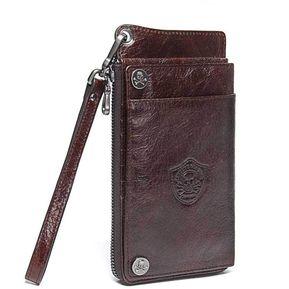 775b794e32b Billetera de hombre de cuero de múltiples capas de embrague de la  cartera-negro