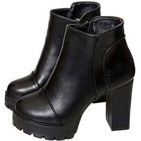1cd3e76c59 Martin femenino botas calzado casual con cremallera lateral Tacón Alto  fornido