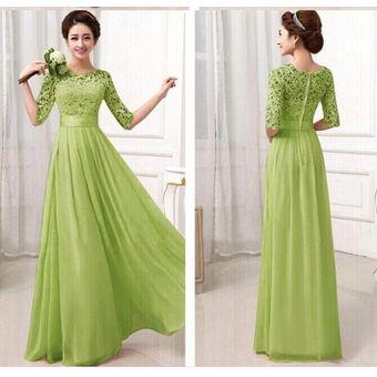 Vestido fiesta encaje verde