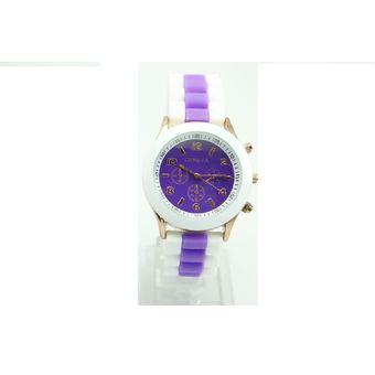984ae8673a71 Compra Reloj Geneva Manilla Silicona Borde Doble Blanco Y Morado ...