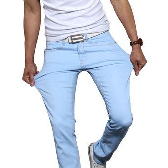 Pantalones Vaqueros Ajustados A La Moda Para Hombres Jovenes Pantalones De Pie Ajustados De Algodon Elasticos Para Hombres Caqui Azul Cielo Negro Gris Y Blanco Khaki Linio Peru Un055fa0s8gj5lpe