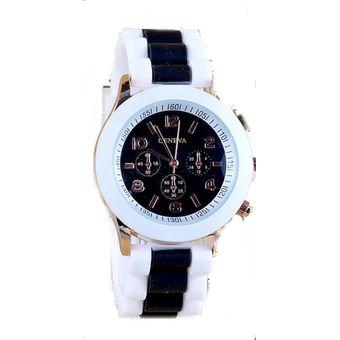 Compra Reloj Geneva Manilla Silicona Borde Doble Blanco Y Negro ... a54173a802d1