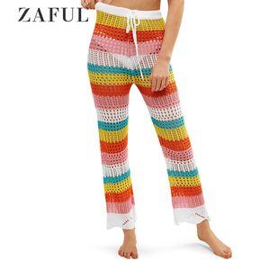 bfb7f60bd3 ZAFUL Pantalones de ganchillo con cordón de color
