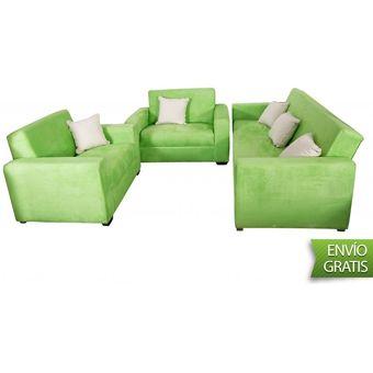 Compra Dm Juego De Sala Lineal 3 2 1 Microfibra Verde Limon Online