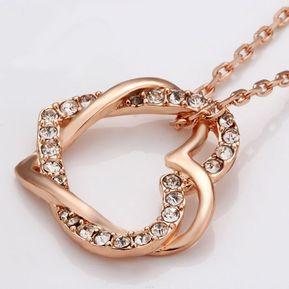 172ec1cad7fc La Tienda 88 - Collar Mujer Corazón Entrelazado - Oro Rosa