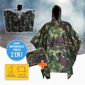 4186bb38b92 Impermeable Capucha Capa Poncho Adultos Camuflado Protección Lluvia