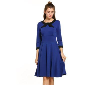 2270fa71bd Compra Vestido Manga 3 4 Vintage Plisado Para Mujer-Azul online ...