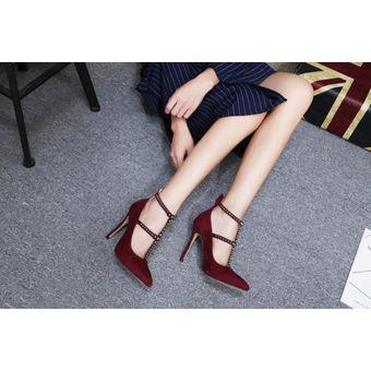 Compra Sexy puntiagudo remache T cinturón tacones altos mujer - rojo ... a3a599cc014e