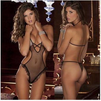 7059496df0d0 Calidad Lencería Sexy Para Mujer Ropa Interior Pijamas Transparente-negro