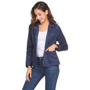 1188f574a8c9 Camisa Cremallera De La Cintura Elástica Manga Larga De Las Mujeres -Azul