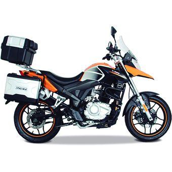 Motocicleta V200 ITALIKA Adventure Negro Con Naranja
