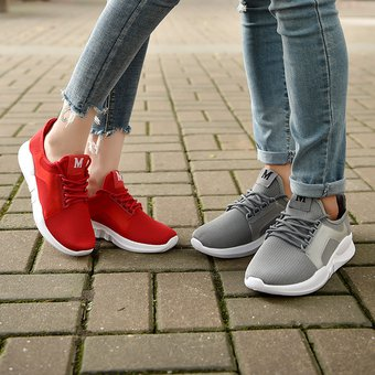 b49cce6d Couple Casual Shoes Flat Sneakers Calzado Deportivo Casual Para Mujer-Rojo