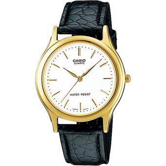 e1f410c2f951 Reloj análogo para hombre color dorado con fondo blanco y pulso de cuero  color negro Casio