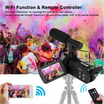 Andifany 48 Megapixel 4K HD C/áMara Digital WiFi Wedding Dv Grabador de Video en Vivo con Micr/óFono Externo