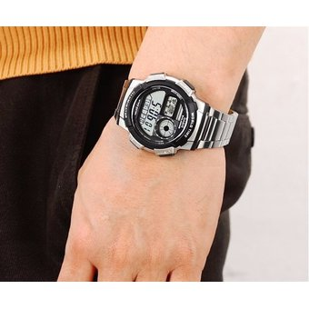 1000wd 1a Hombre Casio Acero Gris Reloj Inoxidable Ae YDIE9WH2