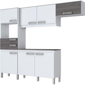 Mueble Cocina Briz Kit Compacta 7 Puertas 2 Cajones Blanco/Gris